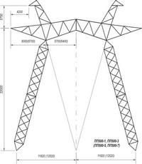 Промежуточная опора на оттяжках ПП500-1, ПП500-3, ПП500-5, ПП500-7