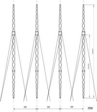 Опора анкерно-угловая четырехстоечная на оттяжках УО1150-1