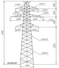 Опора промежуточная ПС220-6т (вариант обозначения ПС 220-6т)
